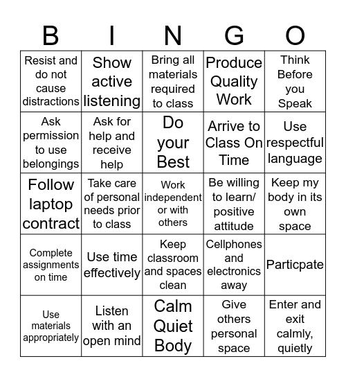 WMS Common Understandings Bingo Card