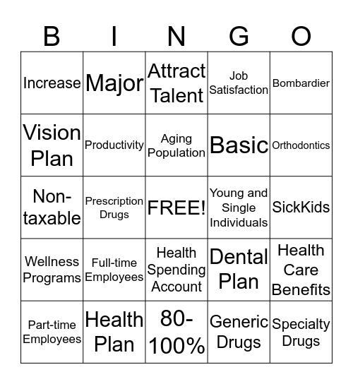 Health Care Benefits Bingo Card
