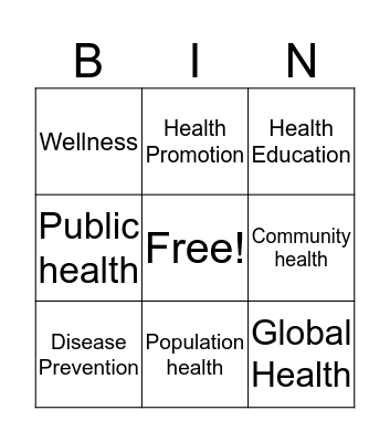 Defining health and wellness Bingo Card