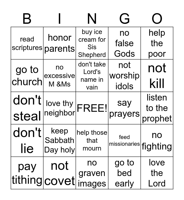 Keep the Commandments Bingo Card