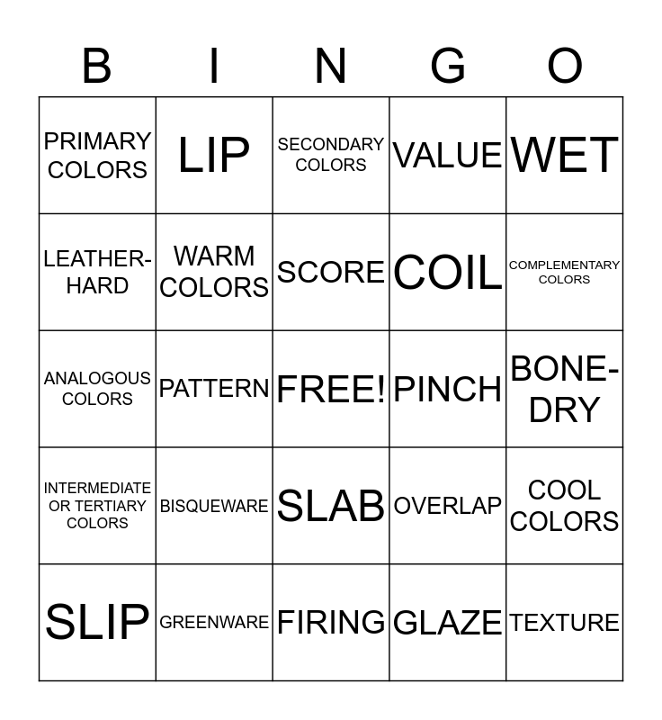 INTRO 2 ART Bingo Card