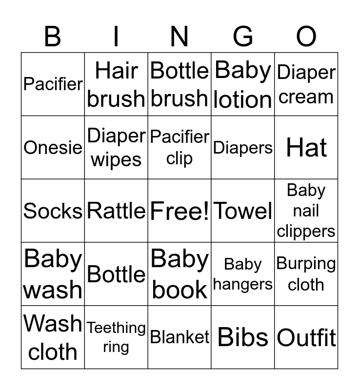 Baby To Be Bingo Card