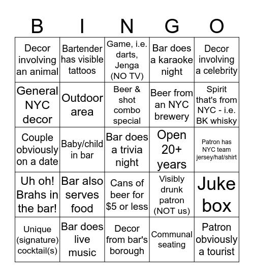 5 Borough Bar Crawl Bingo - Summer 2019  Bingo Card