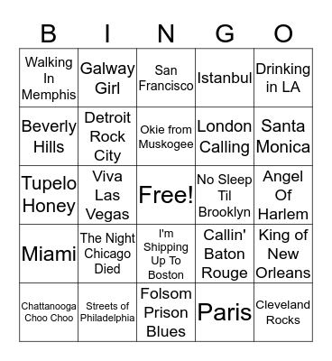 Cities Bingo Card