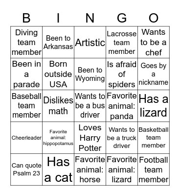 Let's Mingle Bingo Card