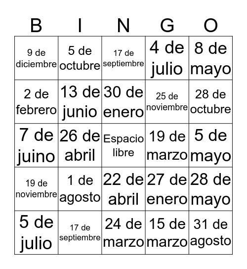 Fechas en Español Bingo Card
