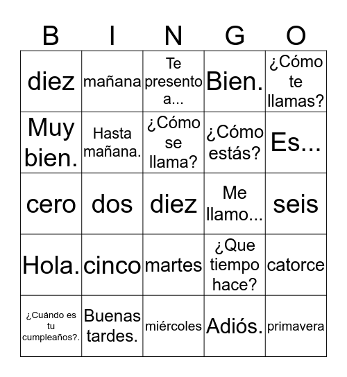 Unit 1, Greetings and Introductions Bingo Card