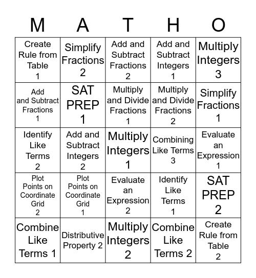Math Bingo - Quarter 1  Bingo Card