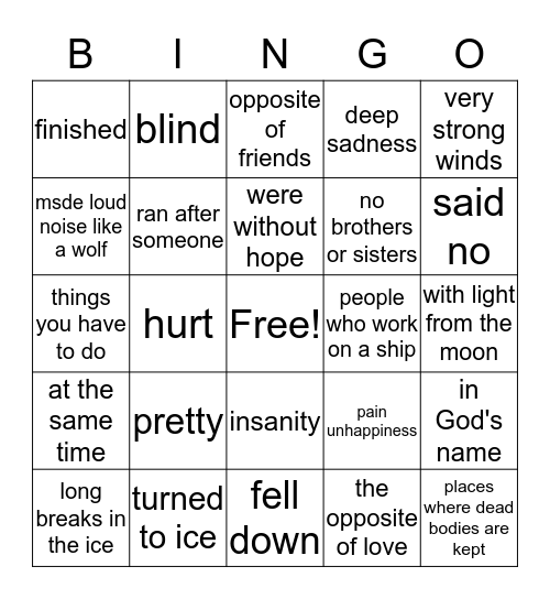 Vocabulary-Frankenstein Bingo Card
