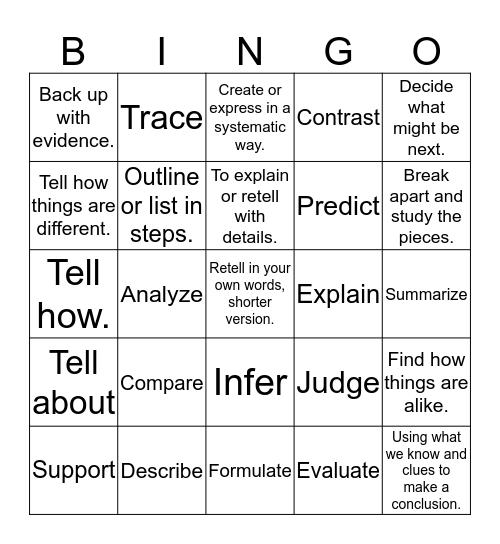 12 Power Words Bingo Card