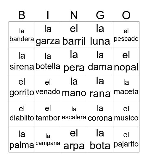 Loteria Mi Pueblito Bingo Card