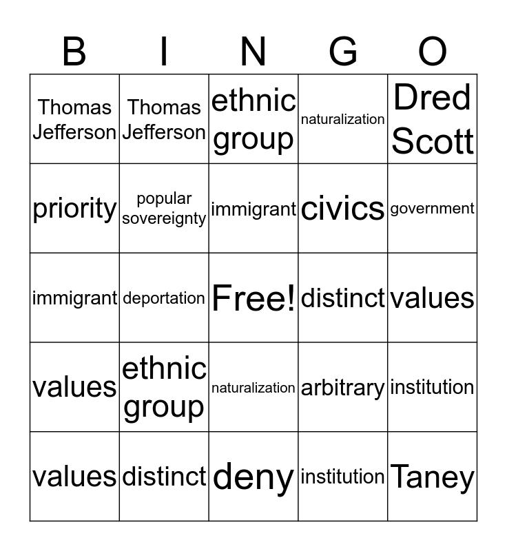 Civics Bingo Card