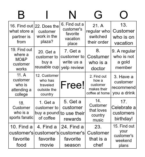 Customer Connection Bingo Card