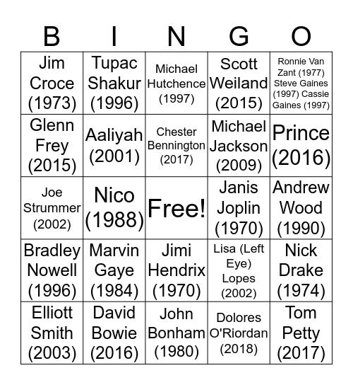 Dearly Departed Bingo Card