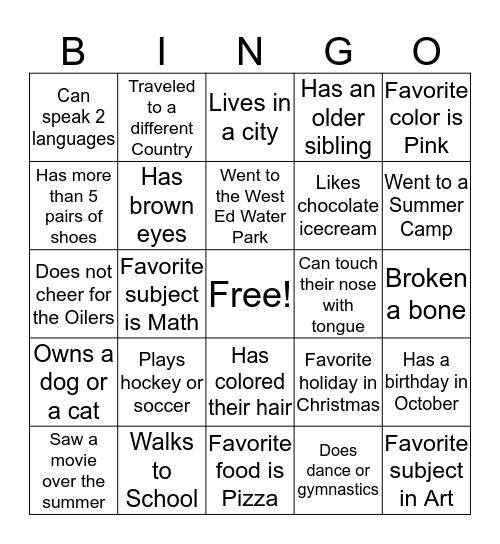Classroom Bingo  Bingo Card
