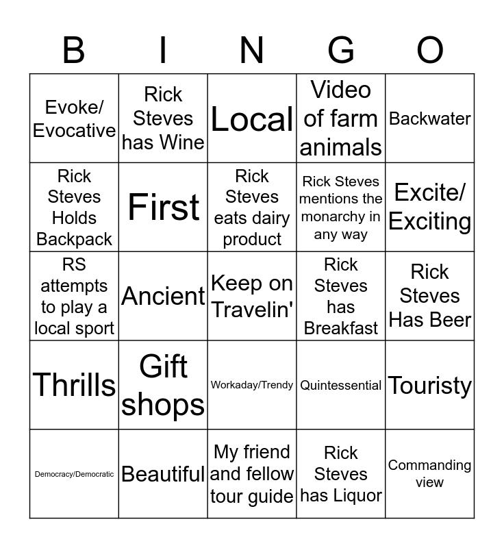 Rick Steves Bingo Card
