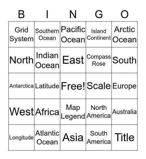 Geography Bingo  Bingo Card