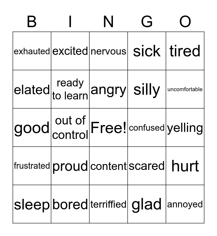 EMOTIONS Bingo Card