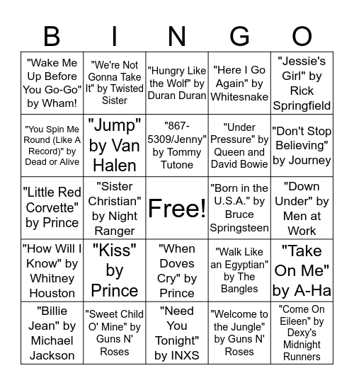 BINGO SINGO 80s Bingo Card