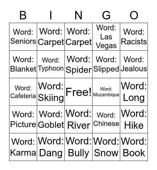 Story telling Bingo Card