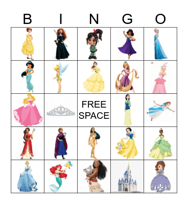 Disney Princess Bingo Card