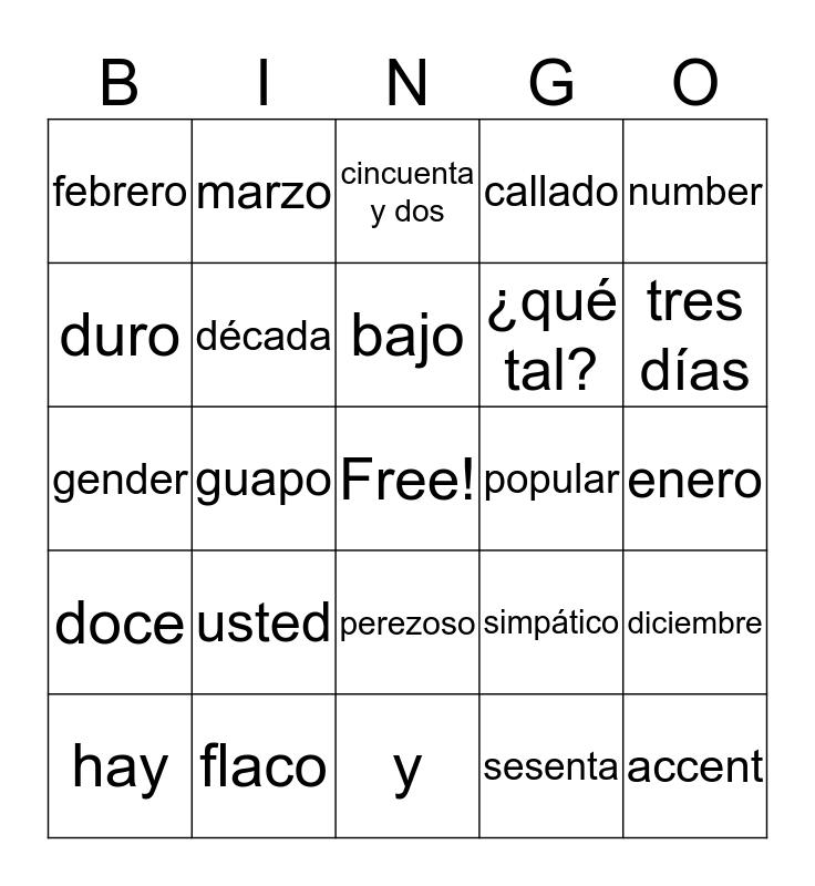 Saludos & Despedidas/Adjetivos/Los Meses/Los Números Bingo Card