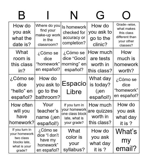 ¡Yo sé! I  Bingo Card
