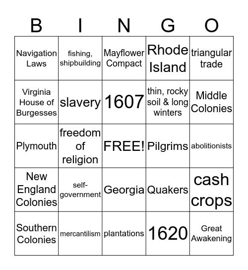 Colonial  Bingo Card