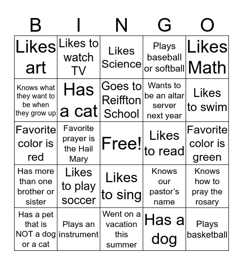 Welcome to PREP Level 5 Bingo Card