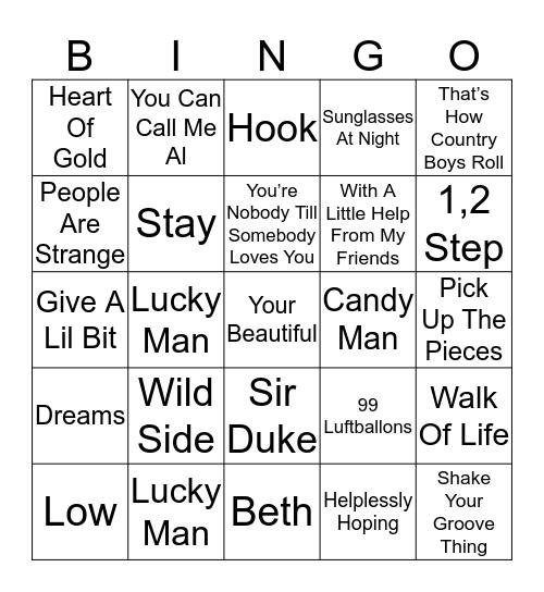 Music Bingo 39-14 Bingo Card