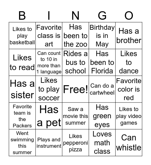 Who's in my class? Bingo Card