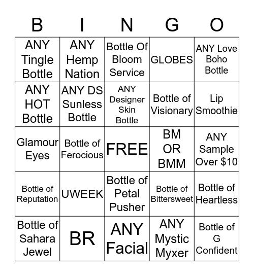 Radiant Bingo Card