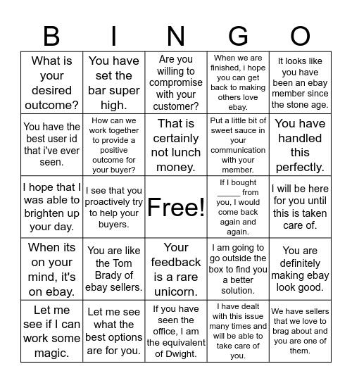 Concierge Bingo Card