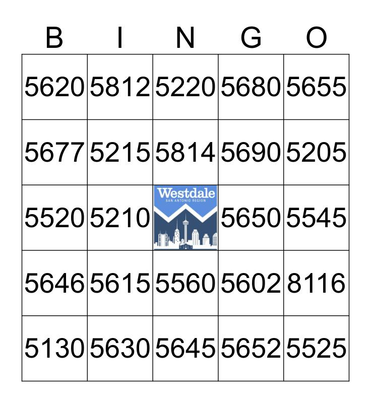 Westdale Account Code Bingo Card