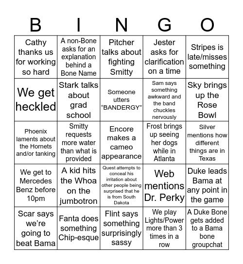 Bone Bingo 2k19! Bingo Card