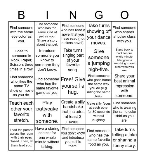 Interactive Human Bingo Card