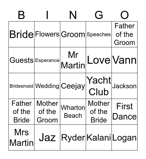 Jaz and Q Get Hitched! Bingo Card