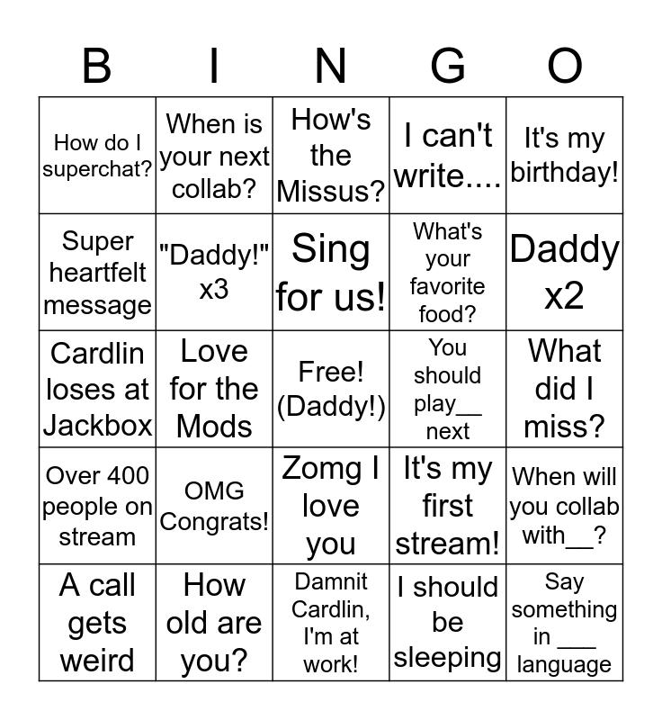 Cardlin Bingo! Bingo Card