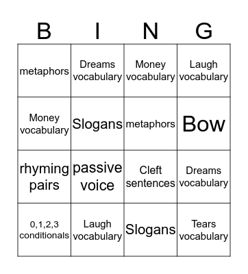 Sailing Bingo Card