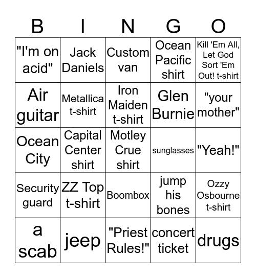 HEAVY METAL PARKING LOT Bingo Card