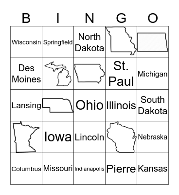 Midwest States Bingo Card