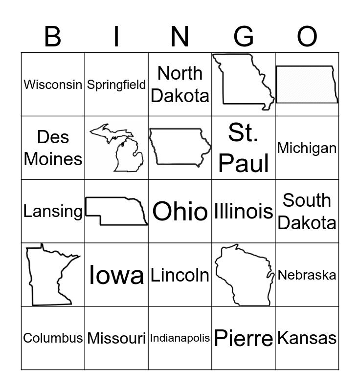 Midwest States Bingo Card