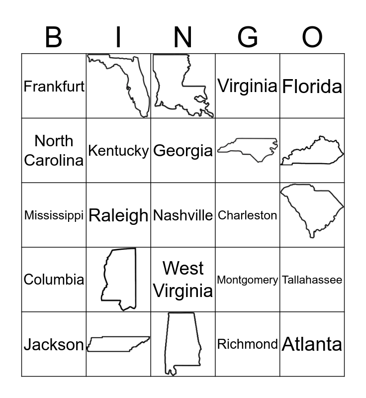 Southeast States Bingo Card