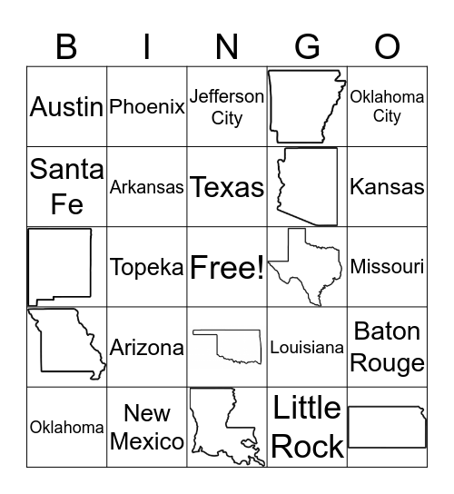 Southwest States Bingo Card