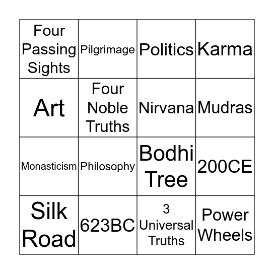 Buddhism Bingo Card