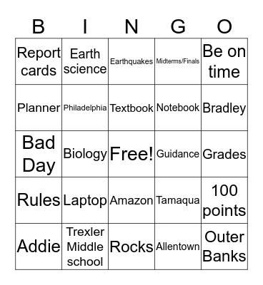 Back to School! Bingo Card