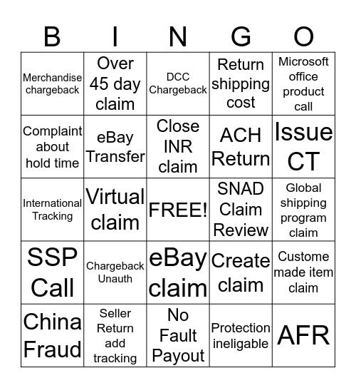Disputes Bingo  Bingo Card
