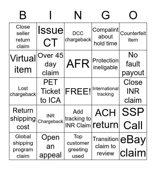Disputes Bingo Card