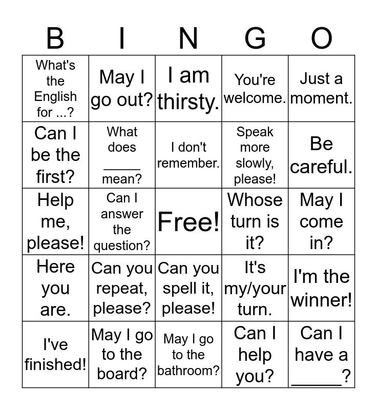Classroom Language Bingo Card