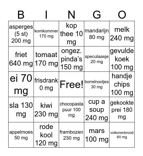 Kalium op je bord Bingo Card